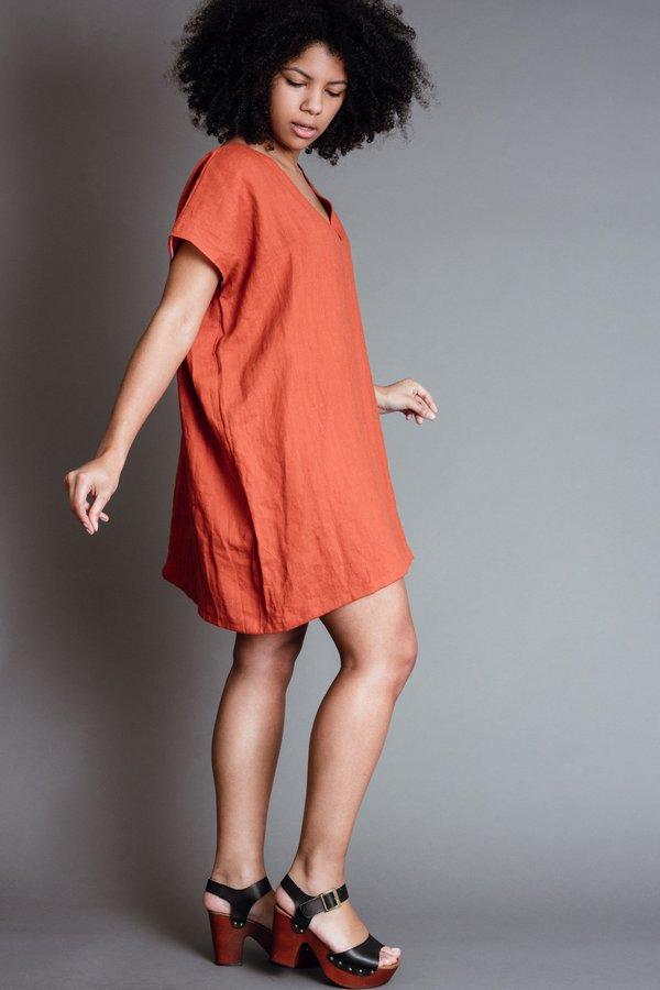 Rust Deep V Dress
