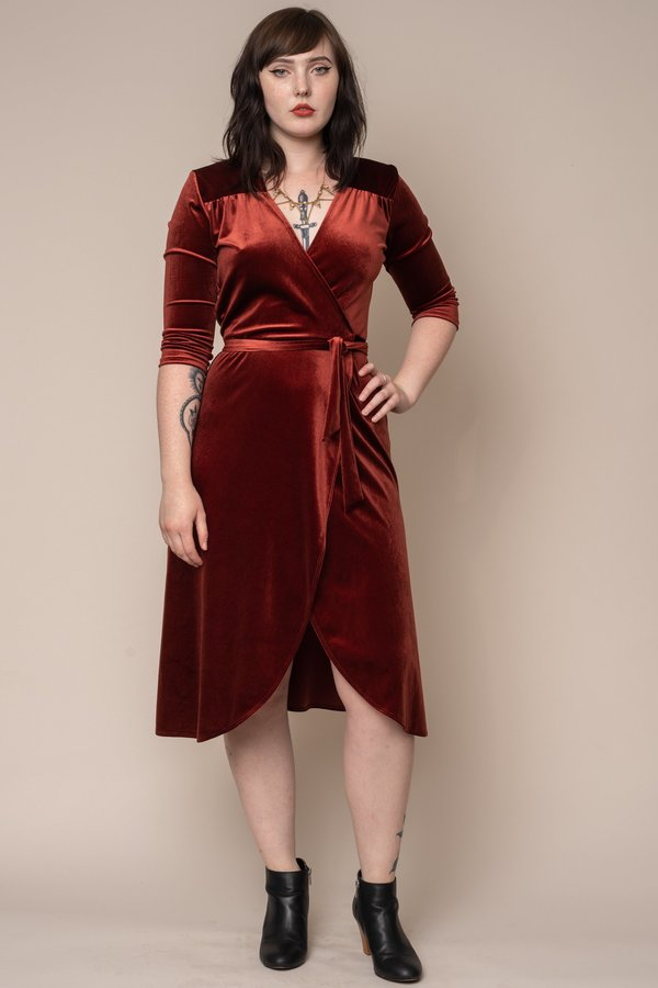 Rust Stretch Velvet Wrap Dress