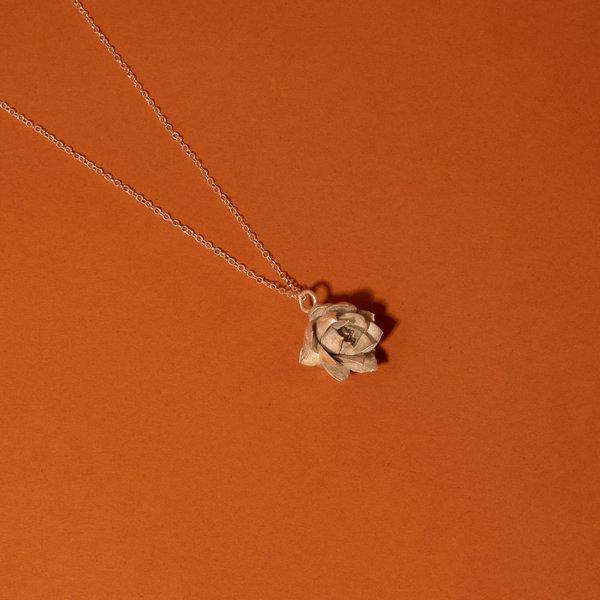 Silver Echevria Succulent Necklace