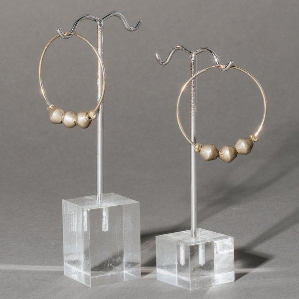 Silver Hoop Earrings with Vintage Silver Beads