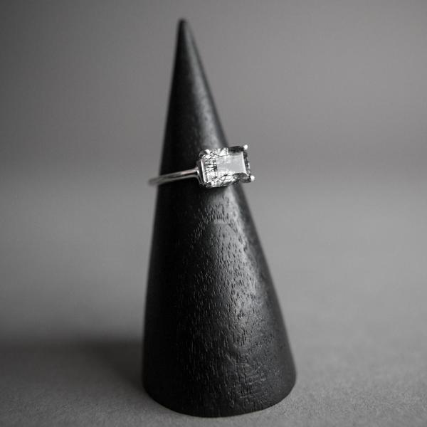 Small Emerald Cut Tourmalinated Quartz Ring