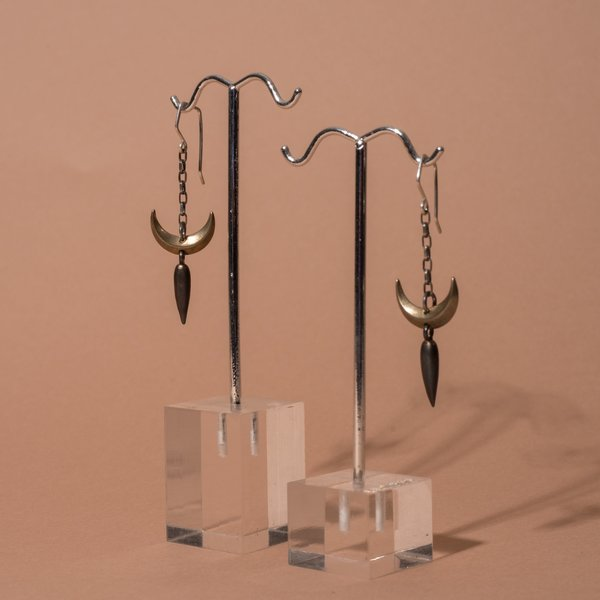 Small Single Crescent Dagger Earrings