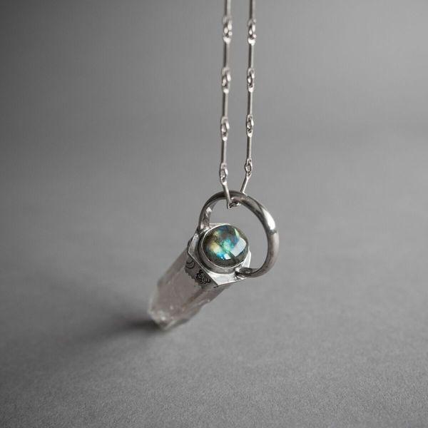 Smokey Quartz Crystal Point Necklace with Labradorite