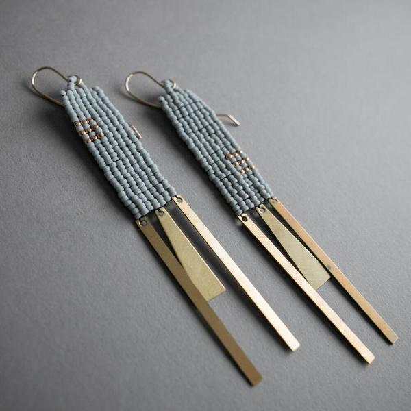 Square Woven Bead and Brass Earrings