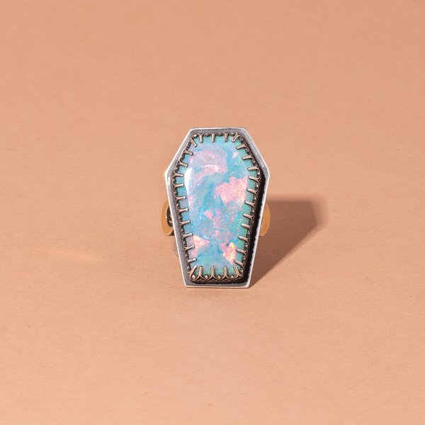 Synthetic Opal Coffin Ring
