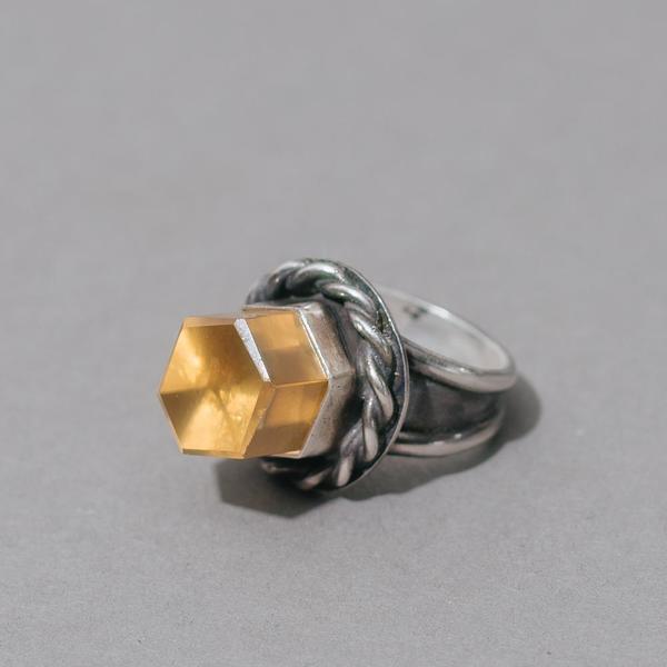 Tall Citrine Crystal Ring