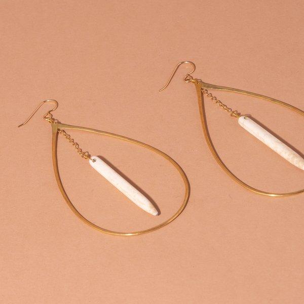 Teardrop Hoop and Abalone Earrings