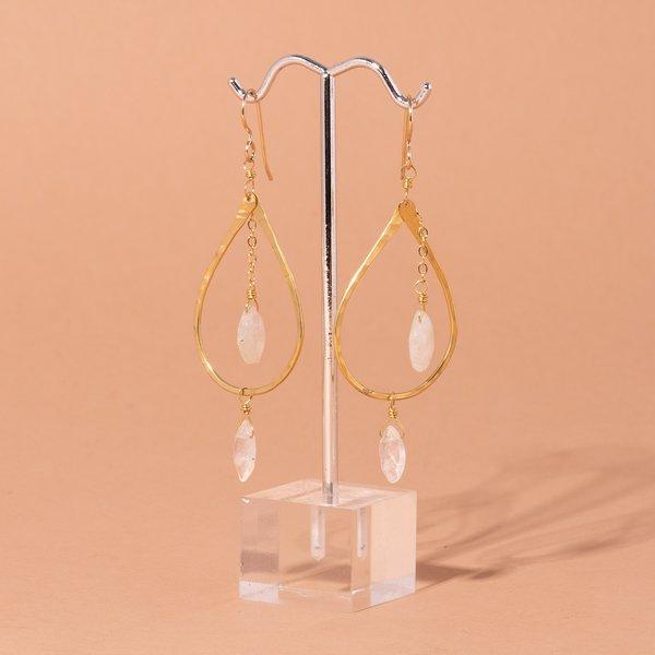 Teardrop Hoop and Quartz Earrings