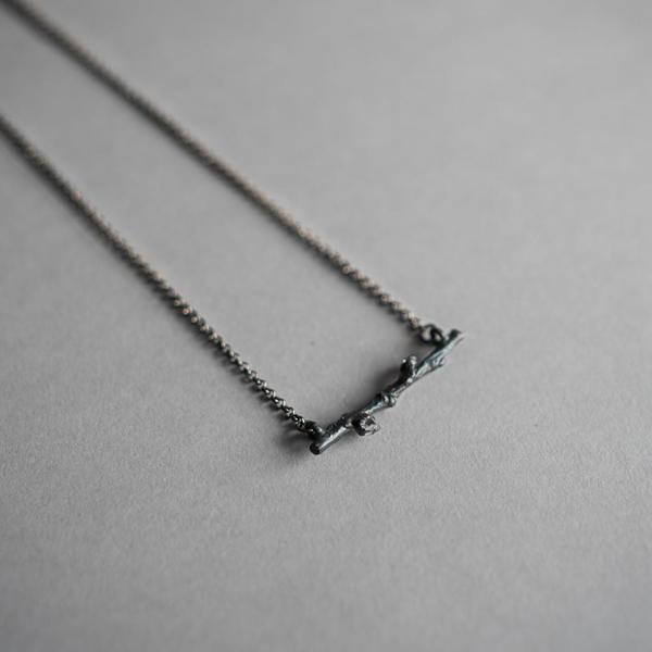 Tiny Twig and Herkimer Diamond Necklace