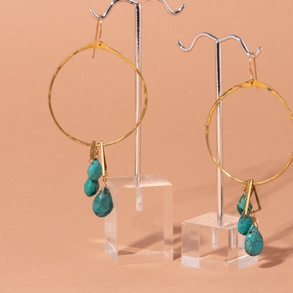 Turquoise and Triangles Earrings