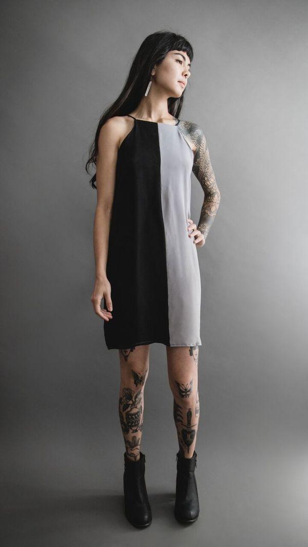 Two-Toned Cupro Mini Dress
