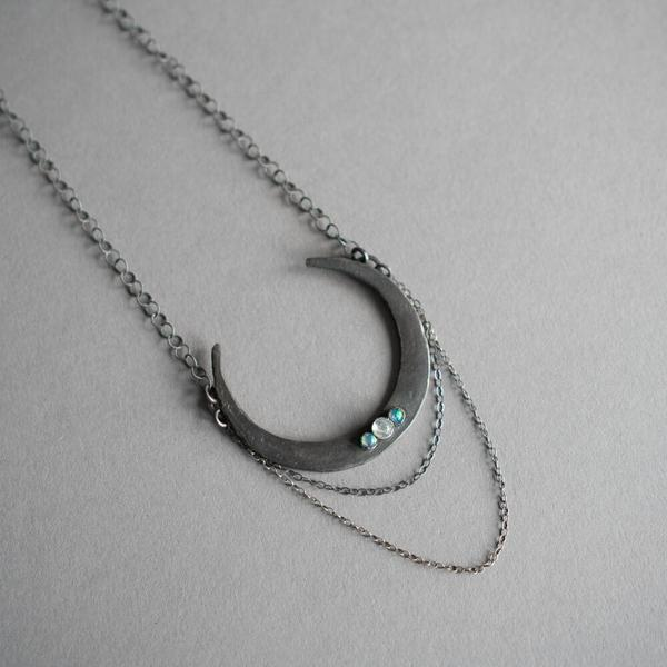 Upward Crescent w/ Opal and Moonstone Necklace