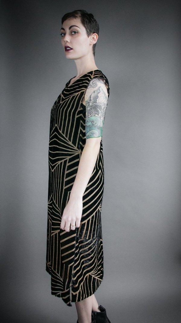 Velvet Burnout Flounce Dress - Geometric