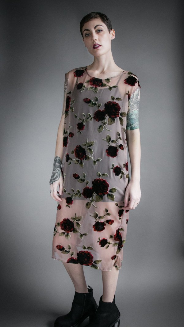 Velvet Burnout Flounce Dress - Rose