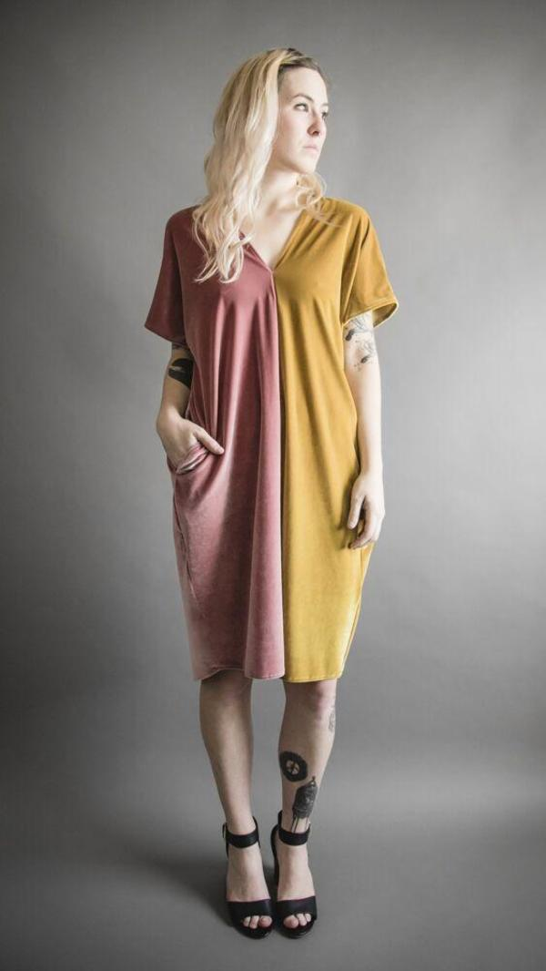 Velvet Two-Tone Tunic Dress