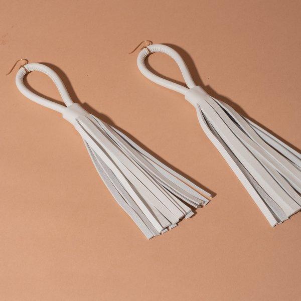 White Loop and Tassel Earrings