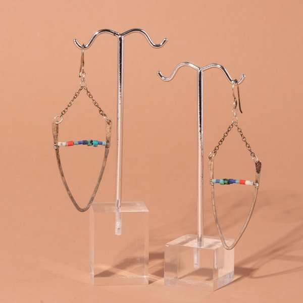 Wishbone Hoop and Beads Earrings