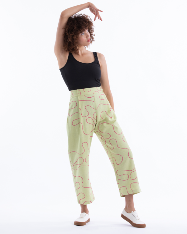 PLEATED PANT - CITRON SQUIGGLE