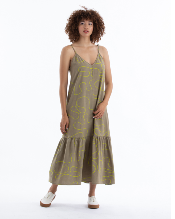 Ali Golden Slip Dress W/ Ruffle - Khaki Squiggle