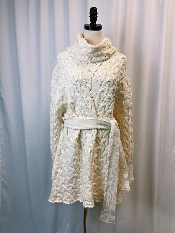 Vintage Free People Cable Knit Belted Sweater Dress - cream