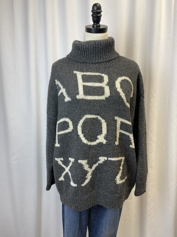Vintage Roberta Freyman Bergdorf Alphabet Sweater (M)