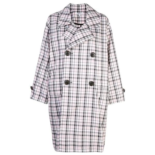 Opening Ceremony Oversized Plaid Trench - Pale Pink Multi