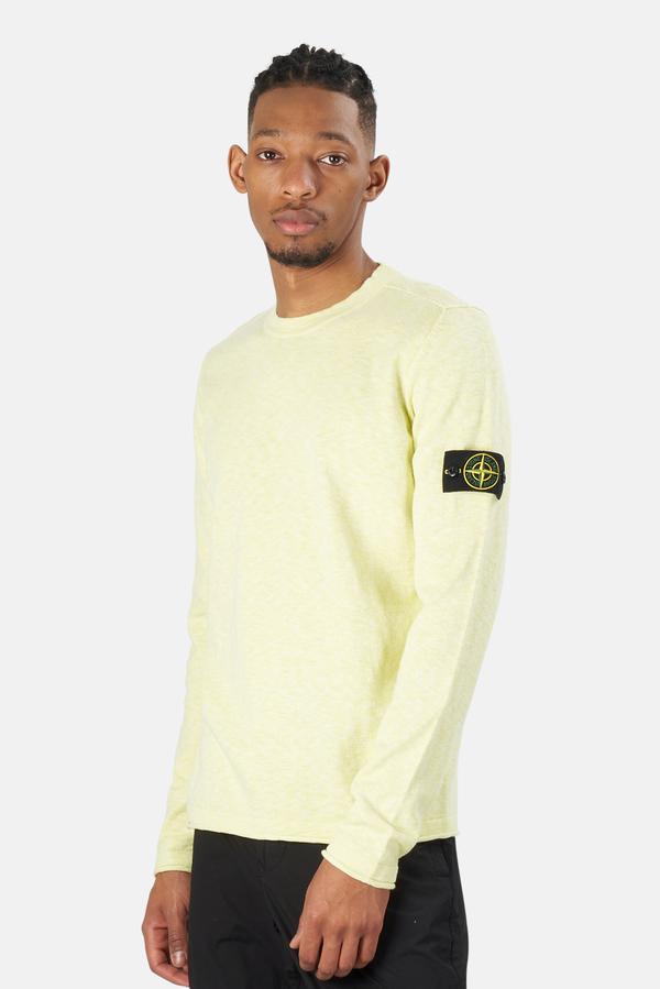 Stone Island Cotton Nylon Melange Crewneck Sweater - Pistachio
