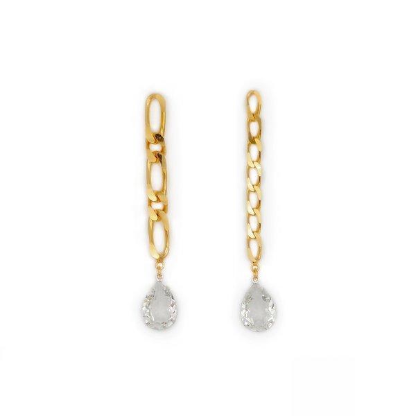 Joomi Lim Chain & Crystal Earrings - Gold