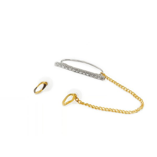 Joomi Lim Chain Stud Earrings with Connecting Chain Crystal Ear Cuff  - Gold