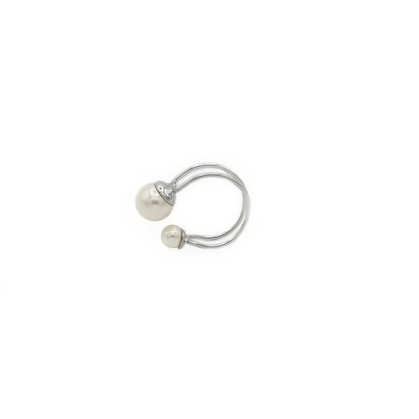 Joomi Lim Double Hoop Pearls Ear Cuff - Silver