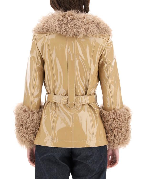 Saks Potts Shorty Jacket in Shiny Leather - Beige
