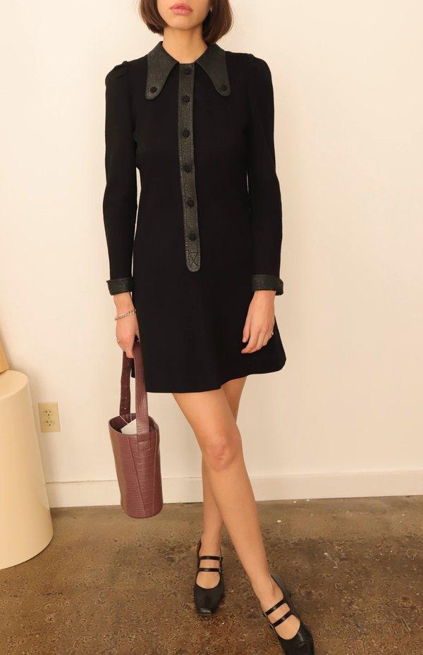 Vintage 60s Black Collar Mini Dress