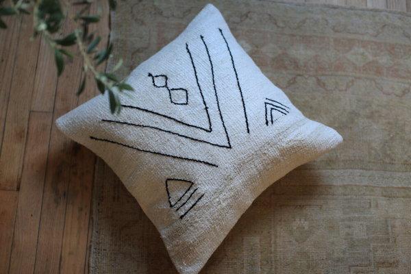 nomad collective Hand-stitched Turkish Kilim Pillow - cream