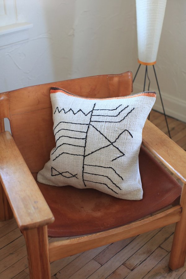 nomad collective Hand-stitched Turkish Kilim Pillow - white/multi