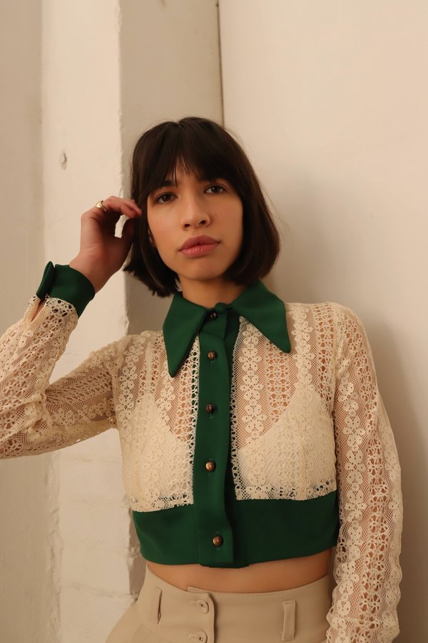 Vintage 70s Lace Collared Top