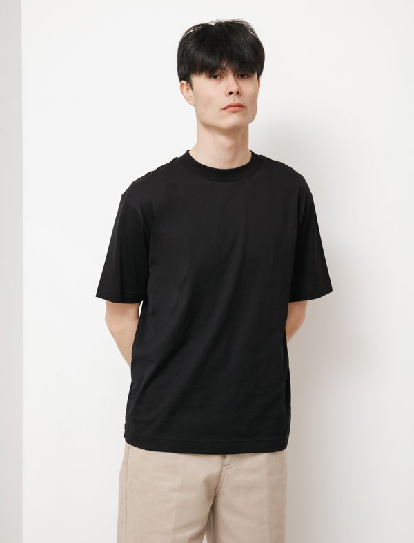 Sunspel SS Mock Neck T-Shirt - Black