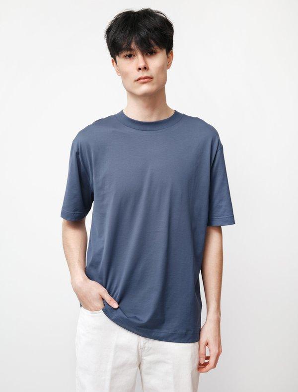 Sunspel SS Mock Neck T-Shirt - Smoke Blue