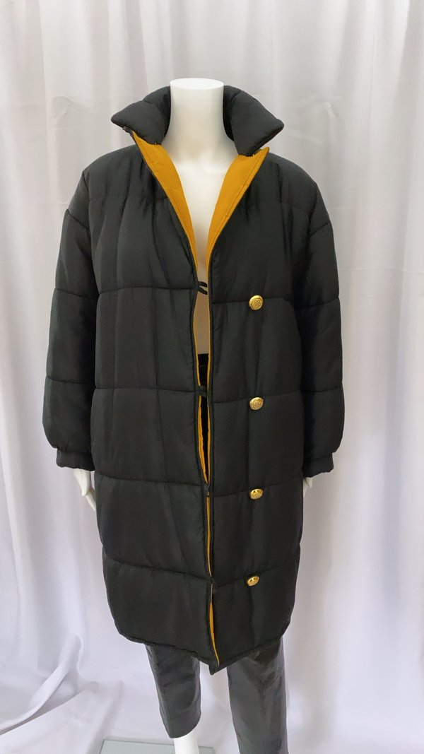 pre-loved 80's Yves Saint Laurent Rive Gauche Silk Puffer - black/yellow