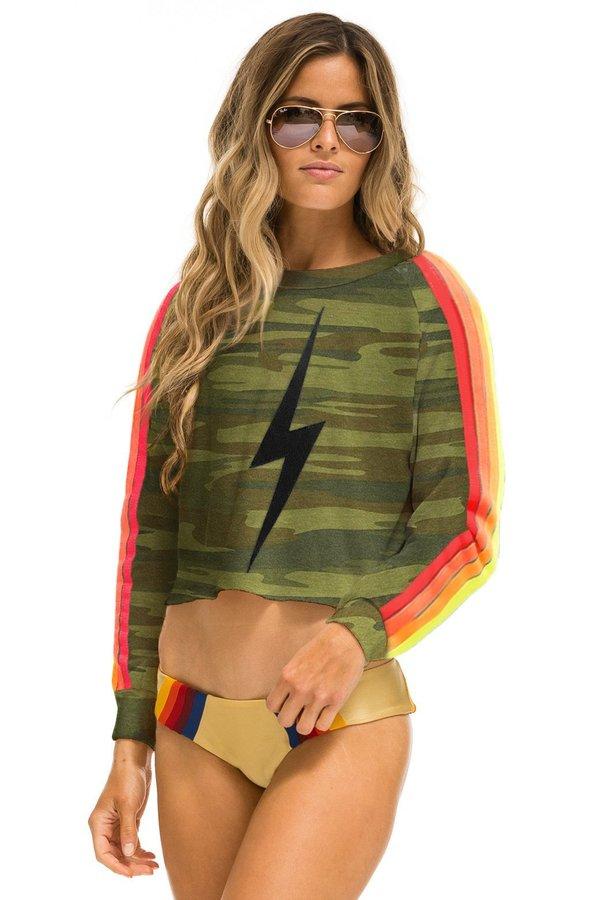 Aviator Nation 4 Stripe Cropped Sweatshirt - camo
