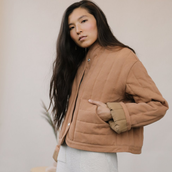 Cropped Quilted Jacket, Clay