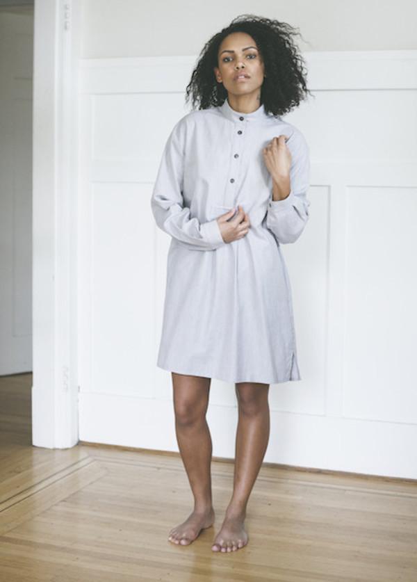 The Sleep Shirt Short Sleep Shirt In Grey Herringbone