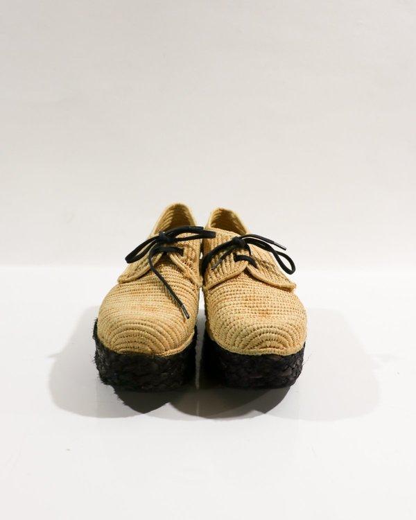 Carven X Robert Clergerie Raffia Platform Shoes, Size 37