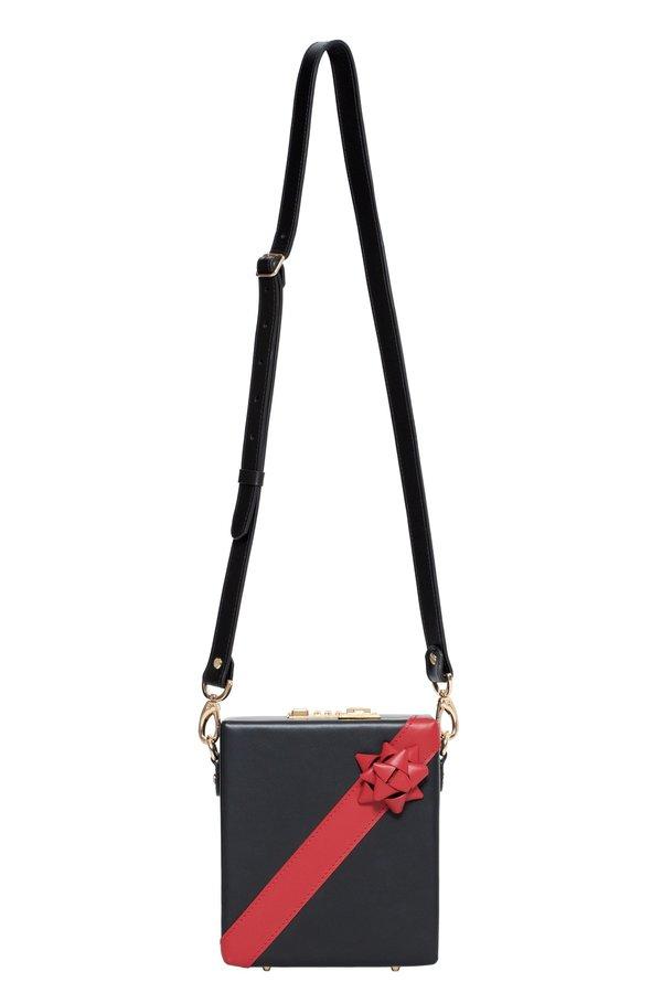 Ernest W. Baker Leather Present Bag - Black/Red