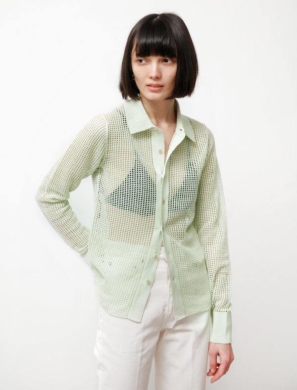 Auralee Super Hard Twist Linen Mesh Shirt - Light Green