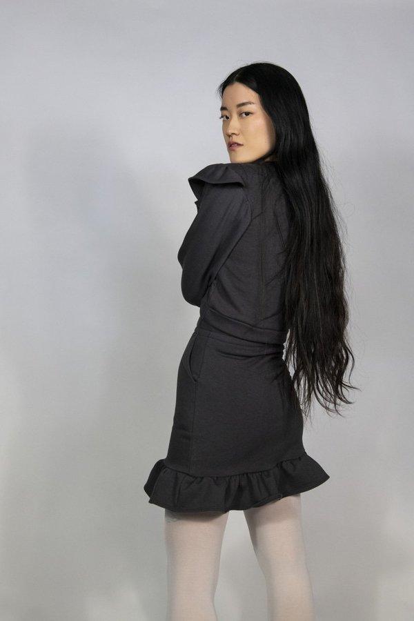 Rightful Owner Fleece Mini Skirt - Charcoal