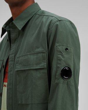 C.P. Company Emerized Gabardine Garment Dyed Shirt - Green