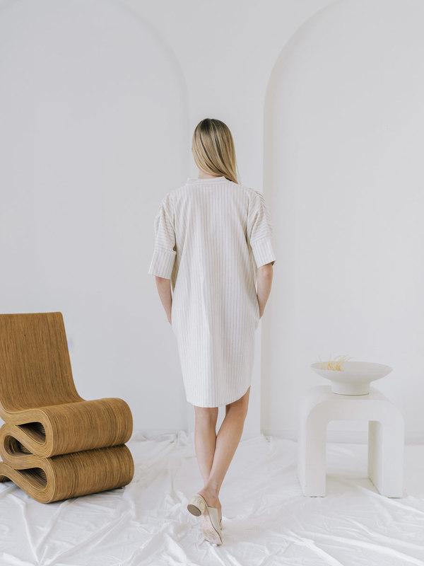 LAUDE the Label Split Neck Dress - Wide Stripe