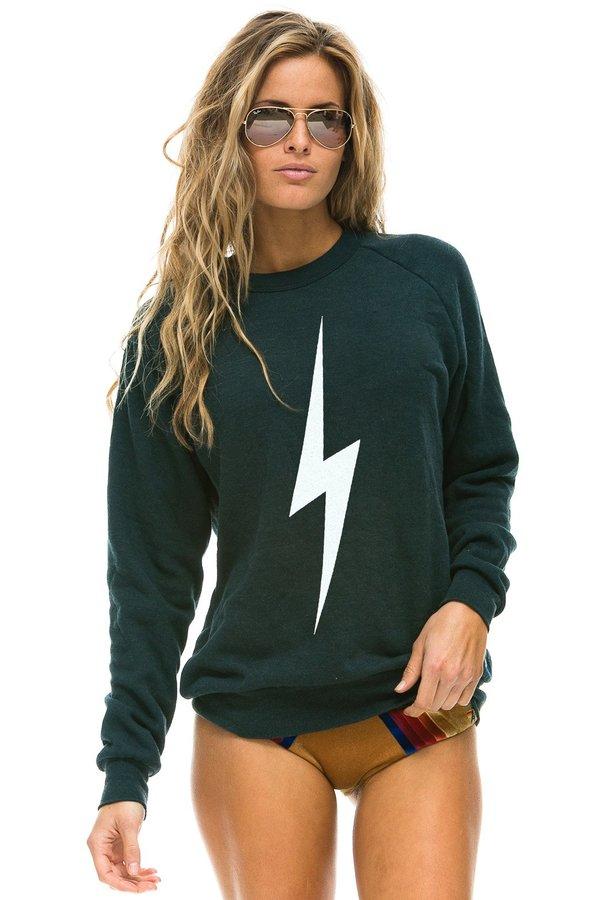 UNISEX Aviator Nation Bolt Crew Sweatshirt - Charcoal