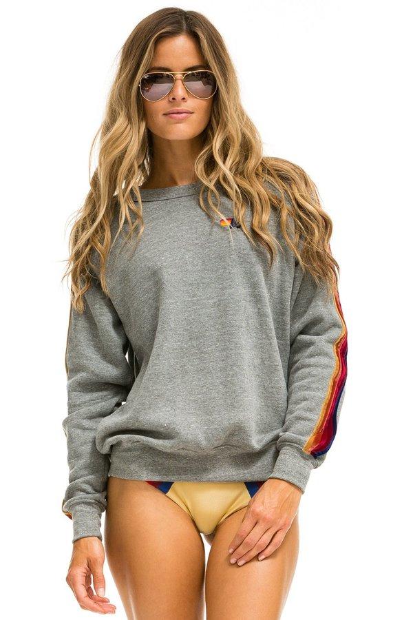 UNISEX Aviator Nation Classic velvet stripes Sweatshirt - Heather Gray