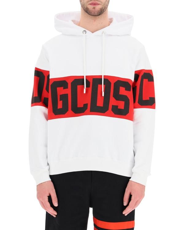 GCDS Logo Band Hoodie - white